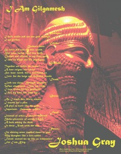 I Am Gilgamesh poetry broadside by Joshua Gray
